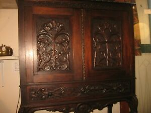 Antique Hand Carved Solid Mahogany Bar Cabinet China Closet 2 Door