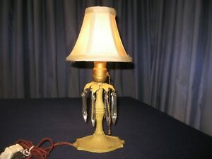 Antique Vintage Table Lamp Iron Base Glass Prisms Cloth Cord 1900s Art Deco