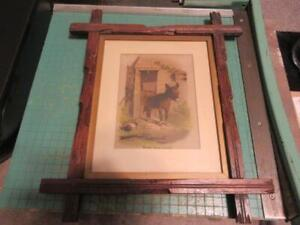 Vintage Every Thing Lovely Donkey Black Forest Tramp Art Wood 8x10 Frame