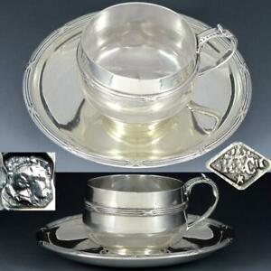 Antique French Sterling Silver Tea Cup Saucer Set Coffee Teacup