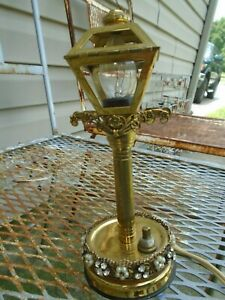 Vintage Brass Night Light Street Lamp Post Rhinestone Jeweled Hollywood Regency