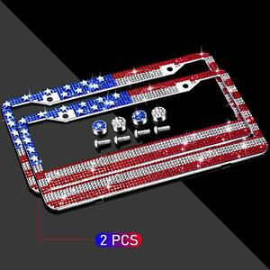 Newzon 2 Pack Rhinestones Usa Flag License Plate Frame Personalized Automotive