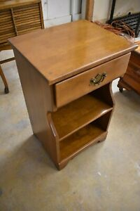 Vintage Solid Maple Bedroom Nightstand Side End Table Furniture