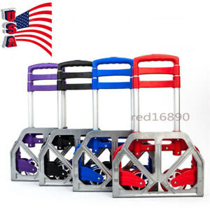 Us Portable Aluminium Cart Folding Push Truck Hand Collapsible Trolley Luggage