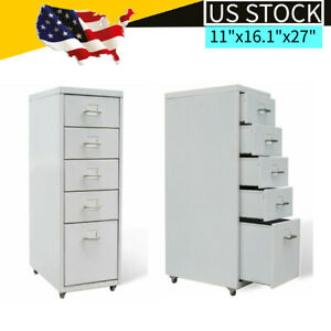 5 Drawer Unit On Castors Home Office Storage Filing Cabinet White 11 x16 1 x27