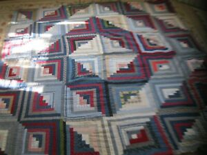 Antique Early Hand Sewn Blue Calico Log Cabin Quilt Top Primitive 76