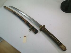 Wwii Japanese Officers Samurai Sword Long Signature With Scabbard L184