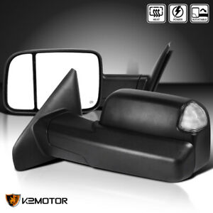 Fits 2002 2008 Dodge Ram 1500 03 09 2500 3500 Power heated Led Tow Mirrors Pair