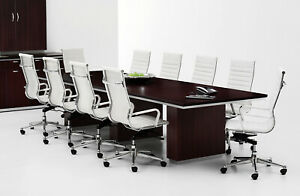 Modern 12 Ft Foot Rectangle Conference Table With Grommets In Espresso