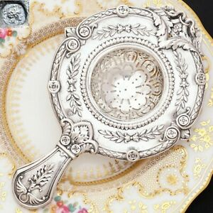 Antique French 800 Silver Ornate Repousse Over Cup Tea Strainer Empire Swans