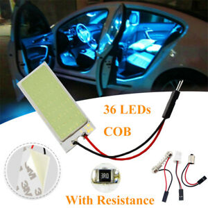 36 Led Car Vehicle Cob Blue Dome Map Light Bulb Interior Panel Lamp T10 Ba9s Ss