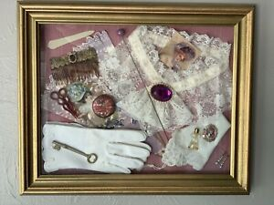Antique Victorian Shadow Box Wedding Jewelry Perfume Brooch Lace Vintage Bride