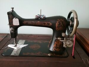 Antique Minnesota Model A Treadle Sewing Machine Parlor Type Cabinet