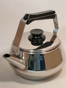 Vtg Mid Century Modern Chrome Lagostina Thermoplan 78 Tea Kettle Made In Italy