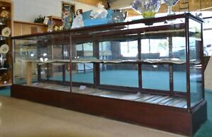 Antique American 12 Drug Store Counter Display Show Case Glass Mahogany Columns
