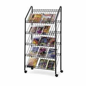 Safco Mobile Literature Rack Charcoal