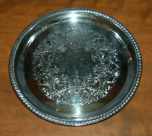 Vintage Wm Rogers Silver Plated 12 Round Etched Serving Tray Platter 161