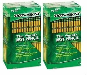 Ticonderoga Woodcase Pencil Hb 2 Yellow Barrel 192 Total Pencils 2 Pack