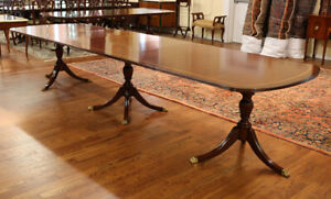 Ribbon Mahogany Triple Pedestal Sheraton Dining Banquet Conference Table 3 Lvs