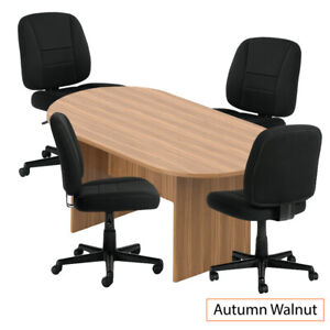 Gof 6 Ft Conference Table With 4 Chairs g11343b walnut 5 piece Table Set