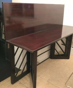 Art Deco Mahogany Rich Wood Top Fold Dining Table Console Deskey Style Legs Rare