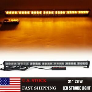 31 Inch Amber Led Traffic Advisor Strobe Light Bar Warning Flash Directional 28w