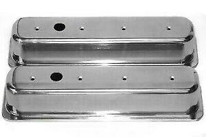 Sbc Smooth Polished Aluminum Tall Center Bolt Valve Covers 87 97 305 350 Chevy