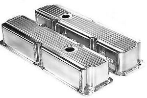Ford Fe Polished Aluminum Fabricated Finned Tall Valve Covers Bbf 360 390 428