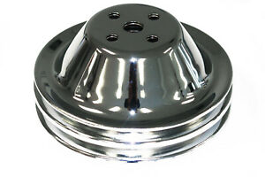 Sbc Chrome Steel Double Groove Short Water Pump Pulley Chevy Swp 327 350 400
