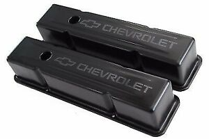 Sbc Black Steel Tall Valve Covers W Metallic Charcoal Grey Ghost Chevrolet Logo