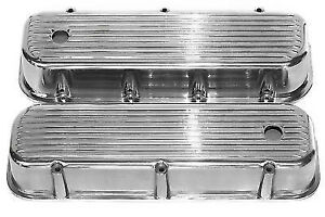 Bbc Nostalgic Polished Aluminum Tall Finned Valve Covers Street Rod