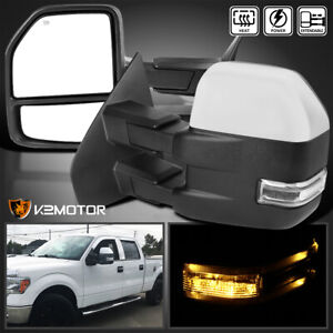 For 2007 2014 Ford F150 Chrome Power Heated Telescoping Tow Mirrors Led Signal