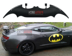 Real Carbon Fiber Batman Style Rear Trunk Spoiler Wing With Led Stop Light J10