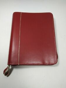 Franklin Covey Classic 1 5 Rings Zippered Red Leather Planner Binder Organizer