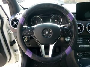 Rear Design Good Fit Pu Leather Steering Wheel Cover Black Purple Version