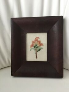 Antique 2 1 2 Wide Wooden Frame Early 19th C With Crewel Flower Folk Art