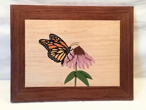 Marquetry Plaque Monarch On Cone Flower