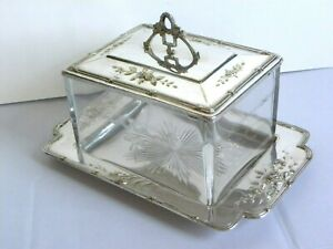 Vintage Art Deco Biscuit Box Etched Glass Silverplate Tray