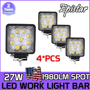 4pcs 27w Led Work Light Bar Spot Beam Square Lights Offroad Fog 4wd 5d Optical