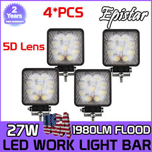 5d Square 4x 4inch 27w Led Work Light Flood Off Road Driving Fog Lights 12v 24v