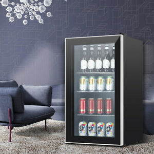 Beverage Soda Beer Bar Mini Fridge Cooler Stainless Steel 120 Can 3 1 Cu ft