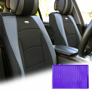 Leatherette Seat Cushion Covers Front Bucket Gray W Purple Dash Mat For Motors