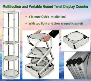 Usa 81 Round Portable Aluminum Spiral Tower Display Case With Light Panels
