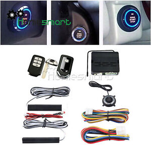Car Alarm Ignition Start Security Key Engine Start Push Button Remote Kit Ahs