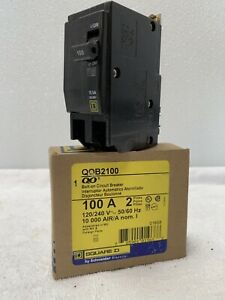 Square D Qob2100 Circuit Breaker 100 Amp 2 Pole 120 240v Bolt On New Open Box