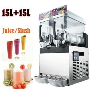 15l 15l 2 Tank Commercial Slushy Machine Margarita Frozen Drink Ice Juice Maker