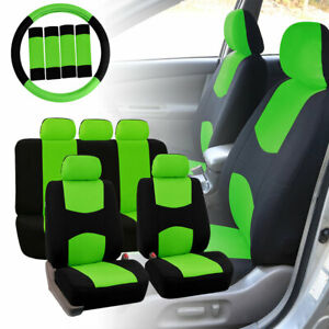 Car Seat Covers For Auto Green W Steering Wheel belt Pads