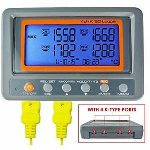 Thermometer Thermocouple K 4 Channel Sd Card Data Logger Temperature Beeper Led