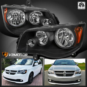 For 2011 2018 Grand Caravan 2008 2016 Town Amp Country Black Headlights Lamps Lr Fits 2011 Chrysler Town Amp Country