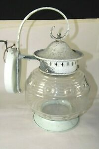 Vintage Porch Patio Garden Wall Sconce Lamp Light Iron Fixture Eapg Glass Shade